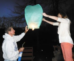 Marienville Winterfest attendees release sky lanterns to heaven.